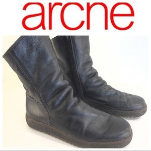 ARCHE brown leather BOOTS 39 9 lined zip
